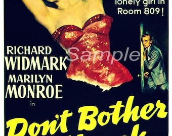 Vintage Marilyn Monroe Don't Bother to Knock Movie Poster Print