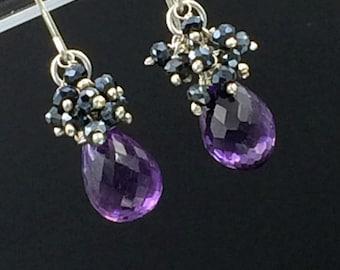 Amethyst Cluster Earring Black Spinel Gemstone Cluster Wire Wrap Sterling Silver Purple Gemstone Earrings February Birthstone