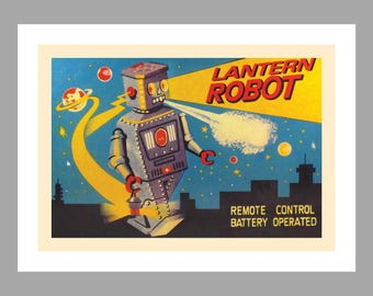 Lantern Toy Robot Art Print