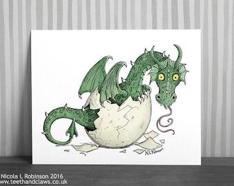 Dragon Nursery Art Print, Green Baby Dragon, New Baby Gift, Dragon Wall Art, Baby Girl, Baby Boy, Dragon decor, Cute Dragon, Dragon Print
