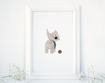 Wallace the Westie, West Highland Terrier, Westie Art, Dog Art Print, Nursery Decal, Wall Nursery Print, Dog and Ball Illustration