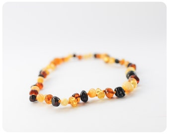 Baltic Amber Teething Necklace - 12 Inches - Teething Necklace - Amber Baby Teething Necklace - Teething Beads- Polished Amber Necklace Gift