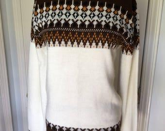 1970s Sweater Cream Brown Border Ski Style Pullover Jumper Acrylic Orlon 70s Fall Winter Size S Small