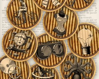 Steampunk Circles - 2 inch - printable - VDCIST1102