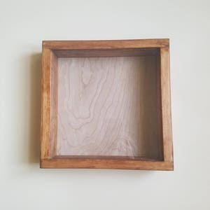 Hand Crafted 11 x 11 x 2.5 Wood and Glass Shadow Box Clear Coat or Stained Curio Display Box Wood Shadow Box Ready to Hang Trinket Box