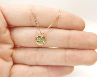 Tiny 14k gold necklace.  2 Initials  pendant. Letter charm necklace. Personalized necklace. monogram necklace. initial necklace.Gift ideas