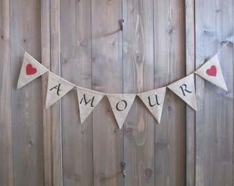 Amour banner with hearts - Valentine's Day banner with red hearts - French language banner