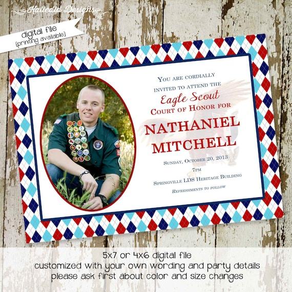 Eagle scout court of honor graduation invitation patriotic LDS announcement high school Boy teenager birthday Mormon | 604 Katiedid Designs