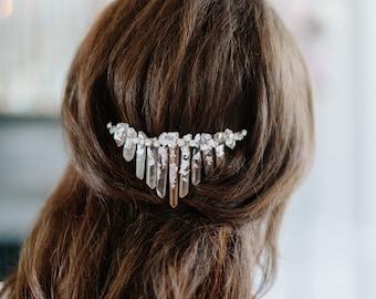 FROST leaf quartz bohemian bridal headpiece, glam boho wedding back hairpiece