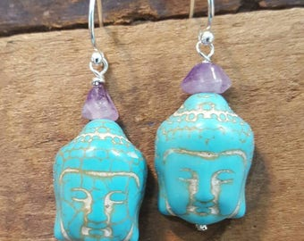 Turquoise and Amethyst Buddha Earrings