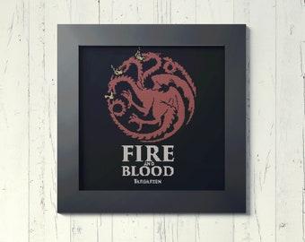 Targaryen Game of thrones - Downloadable cross stitch PDF pattern