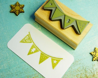 Christmas Bunting Rubber Stamp - Christmas Stamper - Flag Rubber Stamp - Card Making - Scrapbooking - Gift for Christmas - Stocking Stuffer