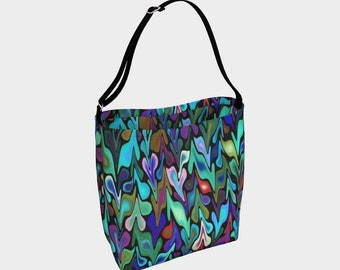 Multicolored Tote Bag, Colorful Handbag, Original Tote, Funky Bag, Teal tote bag
