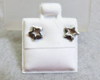 Teeny Tiny Sterling Star Pierced Earrings, Vintage