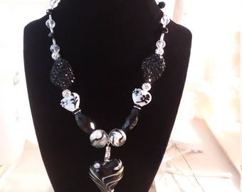 black,white and silver beaded necklace