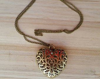 Extra Large Dimensional Filigree Heart Charm Necklace - Sweater Necklace - Statement Jewelry