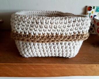 Cotton & Jute crochet square basket