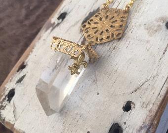 Filligree Crystal Shard Halskette OOAK