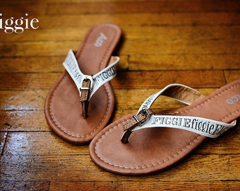 MORE COLORS & Sizes Available, Hand Painted, Summer Figgie Flip Flops, Sandals