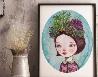 SUCULENTA by Danita. I love succulent plants and I have lots of them in my garden, and this watercolor surreal portrait painting has them