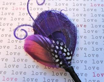 DAVID Purple Peacock Feather Wedding Boutonniere