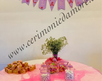 Banner with name and theme decorations