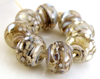 Softly Swirling SRA Lampwork Handmade Artisan Glass Donut/Round Beads Made to Order Set of 8 8x12mm