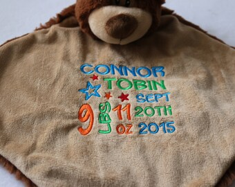 Personalized Baby Blanket Custom Embroidered Baby Bear Blanket Birth Announcement Custom Made Gift