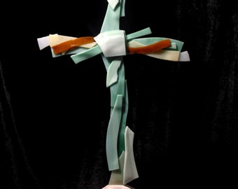 Fused Glass Cross, Stained Glass Cross, Glass Wall Cross Decor, Fused Cross, Fused Glass Wall Decor, Glass Cross Hanging