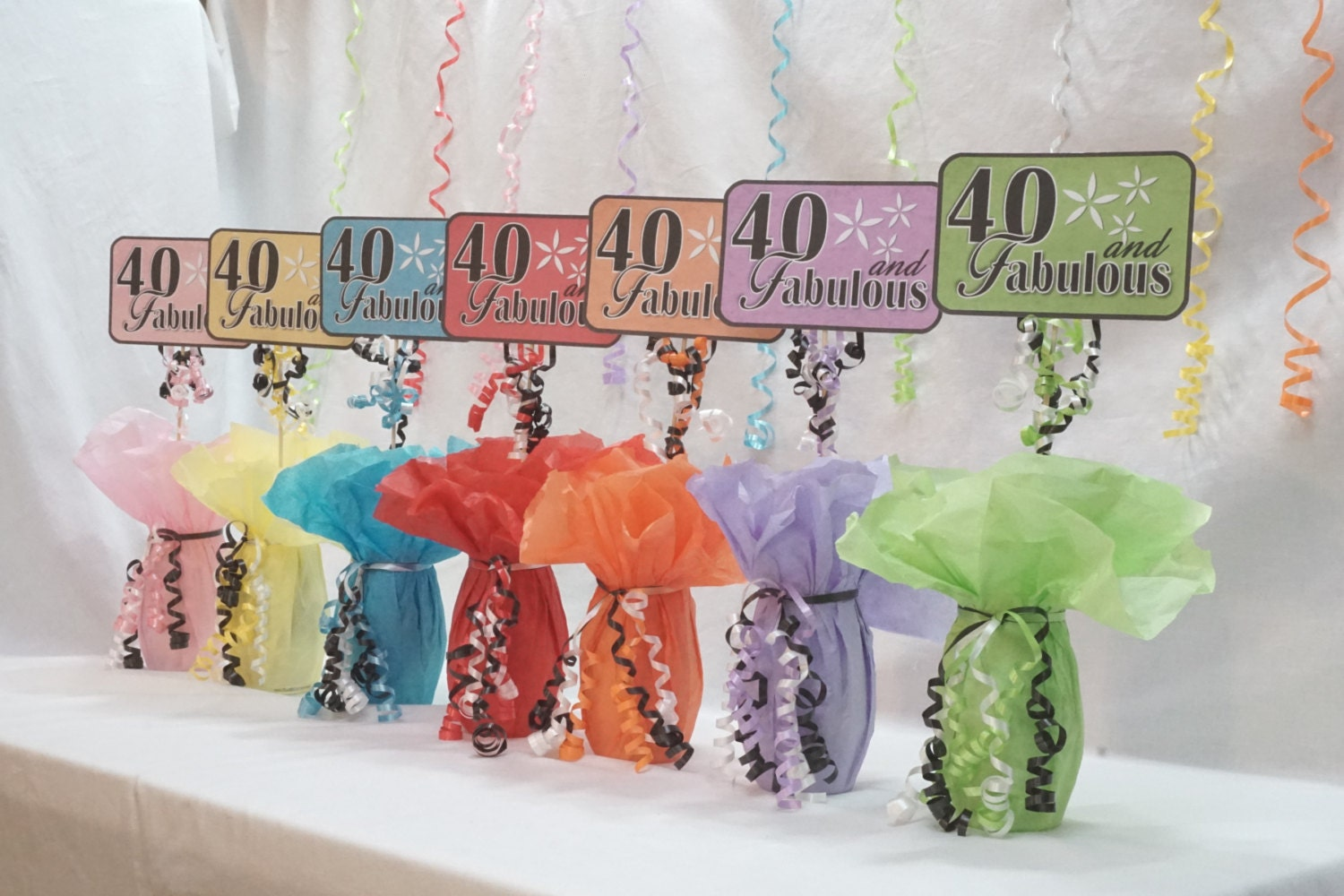 40th centerpiece sign 40 and fabulous 40th birthday decor for 40 birthday decoration ideas