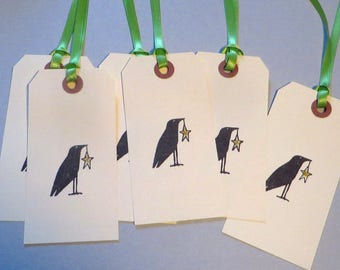Handmade Christmas Tags, Crow and Star, Christmas Gift Wrapping, Hand Stamped Tags, set of 6
