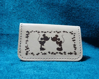 Custom Laser Engraved Leather Mickey & Minnie Wallet Card Holder