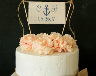 Anchor Cake Topper Nautical Beach Navy Flag Bunting Banner Initials & Date Personalized Nautical Cake Topper Navy Wedding Beach Wedding