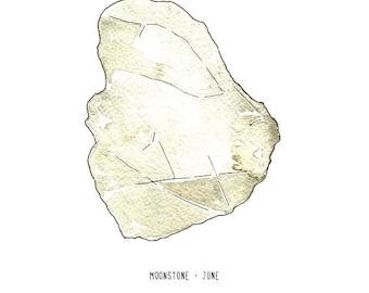 June moonstone birthstone print