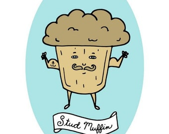 Stud Muffin - Manly Brown Muffin with a Mustache,  Muscles and  Anchor Tattoo on a Pastel Blue Oval  - 5x7 Funny Art Print