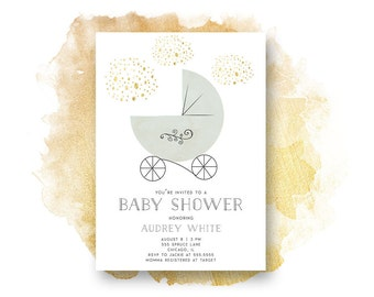 Baby Shower Invitation, Carriage Baby Shower Invitation, Printable, Gold, Baby Shower, Baby Boy