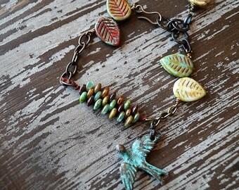 Unlisted - Sparrow Bracelet - Charm Bracelet - Rustic Autumn Bracelet - Woven Bracelet - Earthy - Chain Bracelet - Bead Soup Jewelry