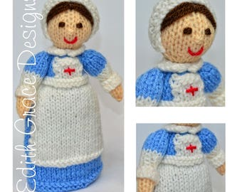 Doll Knitting Pattern - WWI Nurse Doll - Nurse Gifts - Knit Doll - Toy Knitting Pattern - Sewing - Doll Making - Yarn Doll - Doll Pattern