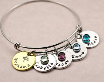 Personalized Birthday Gift for Grandma - Custom Engraved Family Tree Charm Bracelet - Gift for Nana - Gift for Grandmother - Gift for Mother