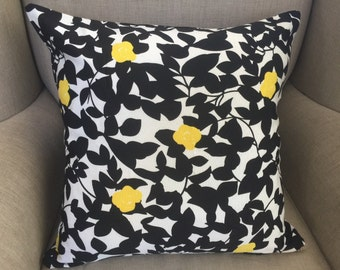Cushion Cover in Black and White Design with Yellow Birds
