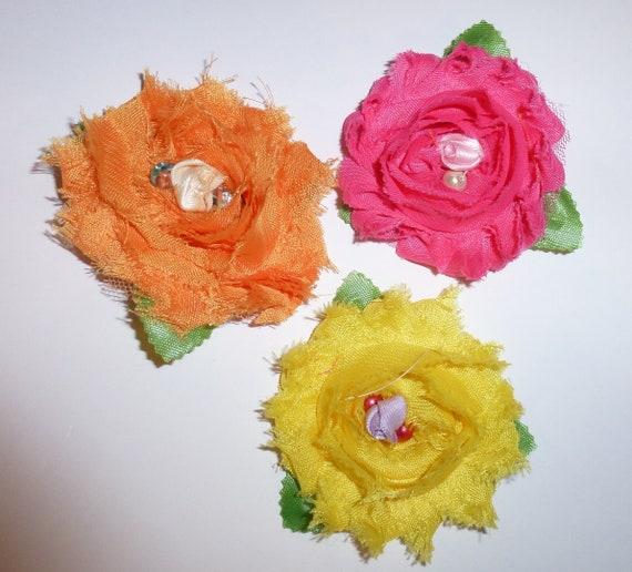 Puppy Dog Bows ~ Shabby chic set of THREE pink yellow orange flowers pet hair bow barrettes or bands (fb103)