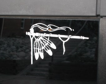Native American Peace Pipe White Vinyl Decal
