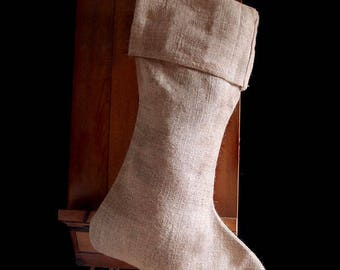 Pack of 6 - Natural Burlap Christmas Stocking 24 inch - Free Shipping