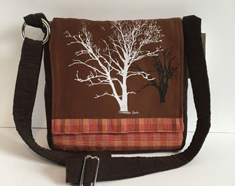 Sycamore and Walnut Tree Messenger Bag Brown 10 x 10