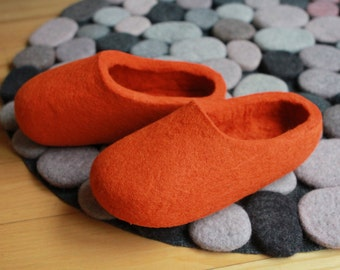 Hand Felted Wool Slippers  in Orange. Made to order.