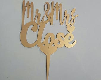 Cake Topper - Personalised for weddings with your surname