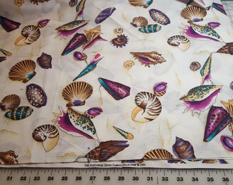 Cotton Sea shell allover Print almost 2yd Alexander Henry with flaw see description