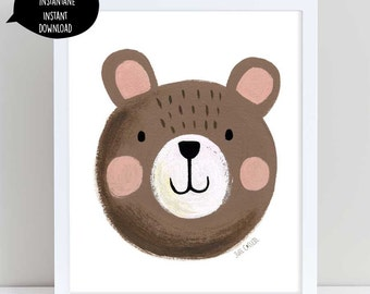 Cute Bear art, brown bear art, brown bear illustration, bear art, bear wall decor, nursery wall art, bear nursery art, woodland decor