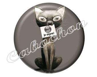 4 cabochons 16mm glass cat