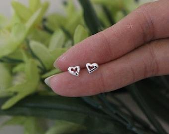 Tiny heart stud earrings, dainty heart earrings, tiny sterling silver stud earrings, teeny tiny studs, children earrings, toddler earrings,